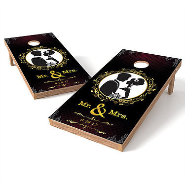 Official Size 2x4 Mr. And Mrs. Floral Wedding Cornhole Game