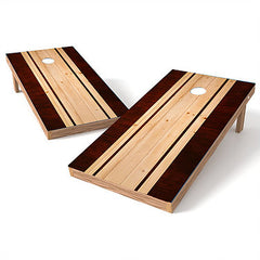 Official Size 2x4 Mahogany Natural Stripe Cornhole Game