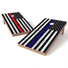Official Size 2x4 Worn Flag Blue or Red Line Cornhole Game