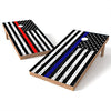 Image of Official Size 2x4 Worn Flag Blue or Red Line Cornhole Game