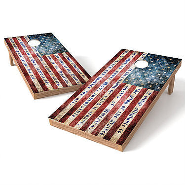 Official Size 2x4 American Flag Pledge Allegiance Cornhole Game