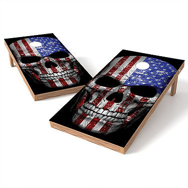 Official Size 2x4 Skull Flag Head Cornhole Game