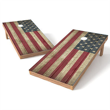 Official Size 2x4 Rustic American Flag Cornhole Game