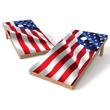 Official Size 2x4 Raised Waving Flag Cornhole Game