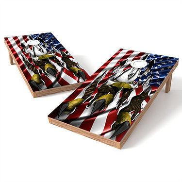 Official Size 2x4 Eagle Claw American Flag Cornhole Game