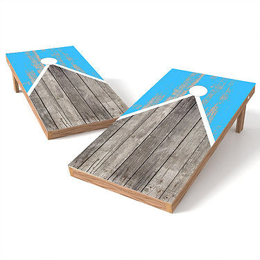 Official Size 2x4 Half Triangle Worn Lt. Blue Cornhole Game