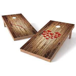 Official Size 2x4 Barn Wood Hearts Cornhole Game