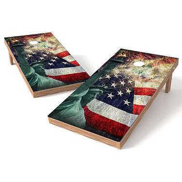 Official Size 2x4 Statue of Liberty Fireworks Cornhole Game