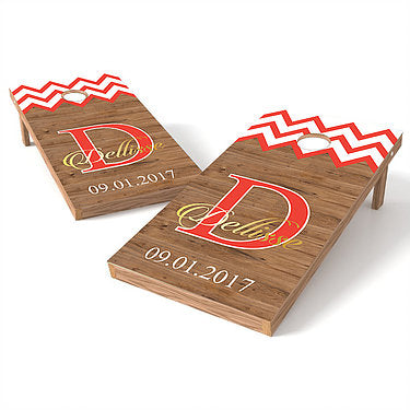 Official Size 2x4 Chevron Wedding Name Cornhole Game