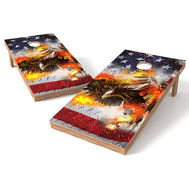 Official Size 2x4 Eagle Fire Cornhole Game