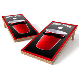 Official 2x4 Solo Cup with Moustache Cornhole Game
