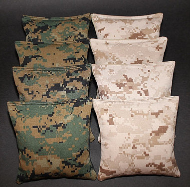 Hand Made 6x6 Inch Official Size Camouflage Cornhole Bags (set of 8)