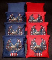 Hand Made 6x6 Inch Official Size Eagle Crest Cornhole Bags (set of 8)