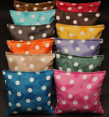 Hand Made 6x6 Inch Official Size Wedding Polka Dot Cornhole Bags (set of 8)