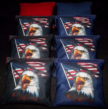 Hand Made 6x6 Inch Official Size Screaming Eagle USA Cornhole Bags (set of 8)