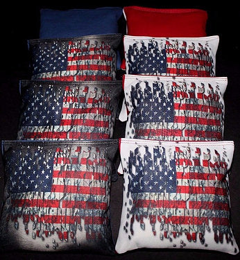 Hand Made 6x6 Inch Official Size Tattered Flag Cornhole Bags (set of 8)