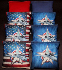 Hand Made 6x6 Inch Official Size USA Fighter Cornhole Bags (set of 8)