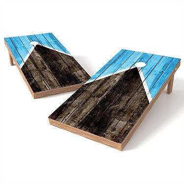 Official Size 2x4 Worn Blue Barnwood Cornhole Game