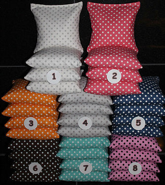 Hand Made 6x6 Inch Official Size Wedding Small Polka Dot Cornhole Bags (set of 8)