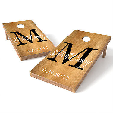 Official Size 2x4 Wood Wedding Monogram Cornhole Game