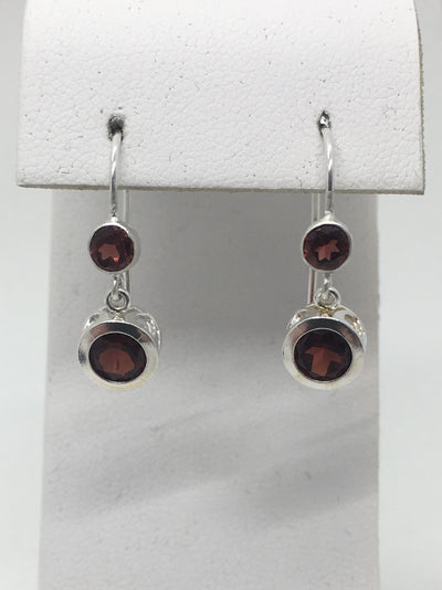 Idaho Garnet Drop Earrings - 6mm and 4mm