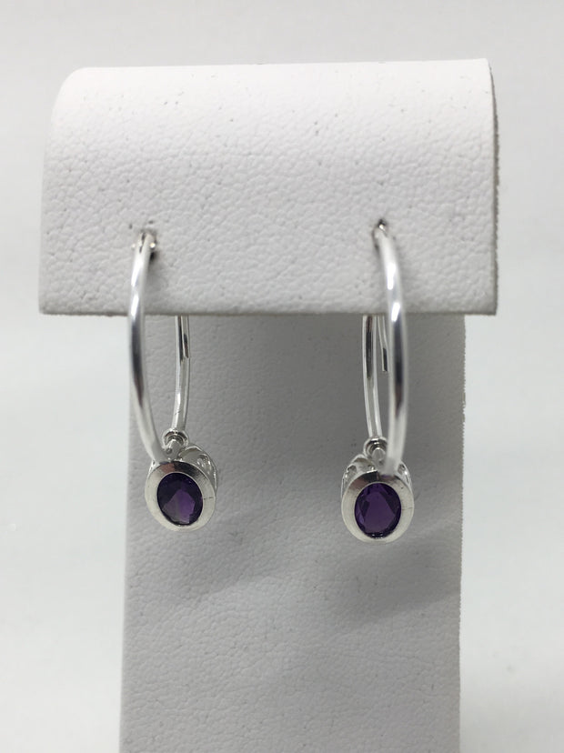 Amethyst Oval Hoop Earrings 7 x 5 mm set in Sterling SIlver Filigree Bezels and Hoops