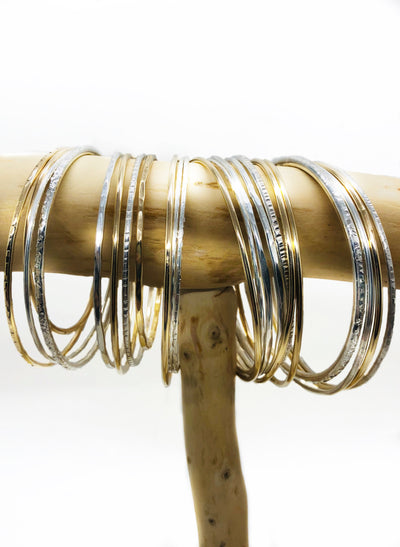 Looking for the perfect addition to your collection? These BOHO textured and smooth bangles are it. These come in silver, rose gold fill and gold filled. They are durable and will last a lifetime. Available from lightweight to heavy to lightweight gauge.