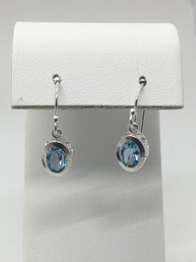 Sky Blue 5 x 7 mm Topaz, set in filigree bezel with sterling silver shepherds hook