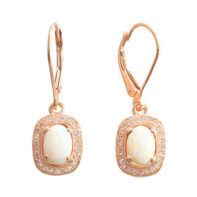 Australian Opal and Diamond Earrings