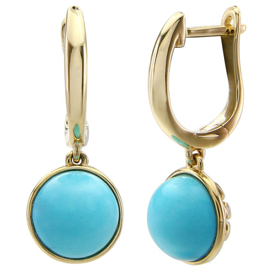 Sleeping Beauty Turquoise Round 8mm Earrings