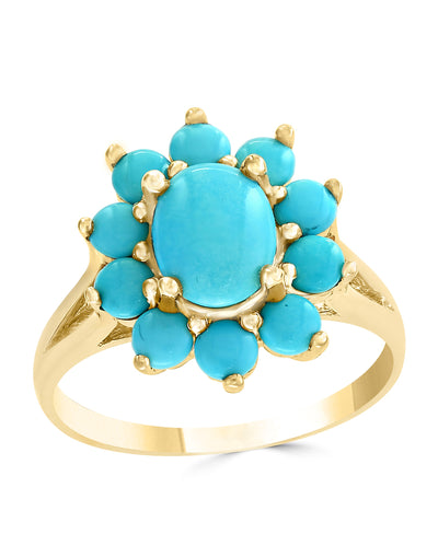 Multi Stone Sleeping Beauty Turquoise Oval Ring