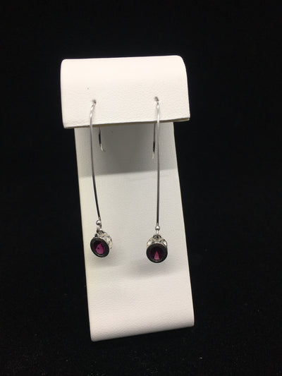 Rhodolite Garnet Long Dangle Earrings