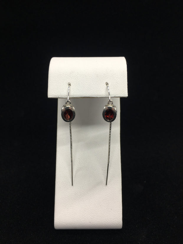 Idaho Garnet Threaded Back Earrings