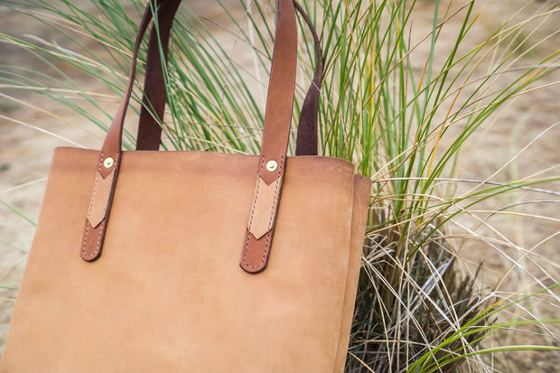 Two Tone Large Leather Tote