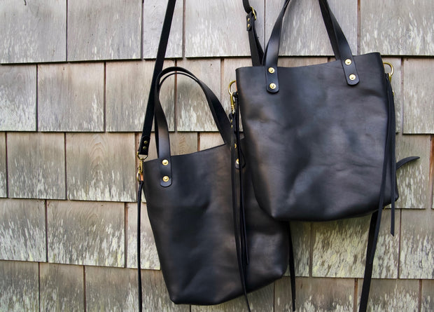 Riveted Medium Tote in Buttery Black