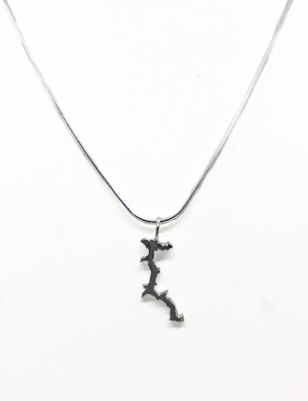 Lake Couer d'Alene solid sterling silver pendant or charm,  perfect for key rings, bracelets, or necklaces.