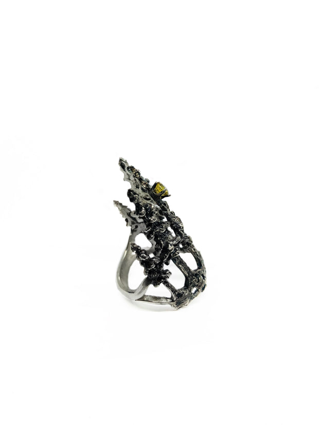 Hand carved antiqued silver forest ring with yellow topaz for all you tree huggers :)