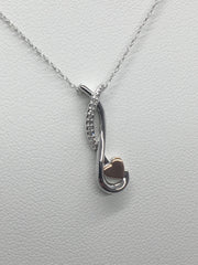 Diamond Rose and White Gold Heart Necklace