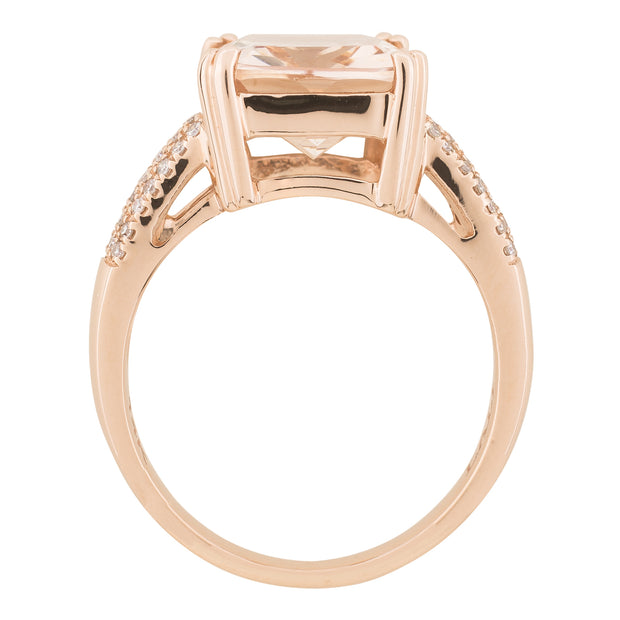 Morganite and Diamond Cushion Cut Ring 12x10mm