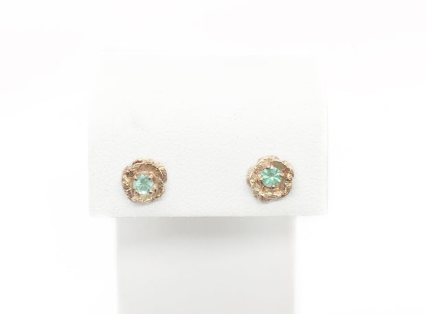 Rose Gold Flower Mint Beryl Studs