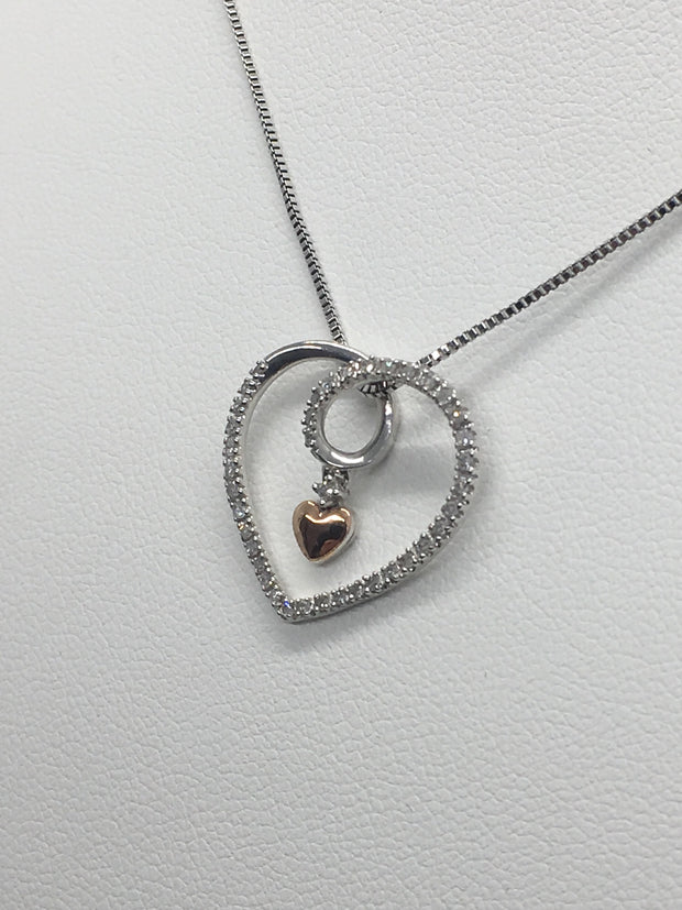 Sterling Silver and Diamond Floating Heart Necklace