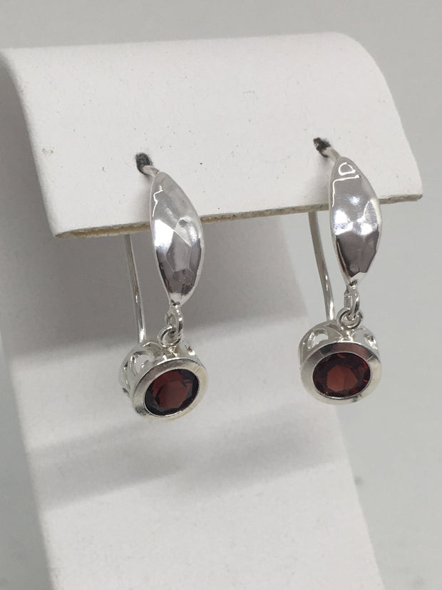 Shepherds Hook Idaho Garnet Earrings 6mm Sterling Silver, Filigree Bezels