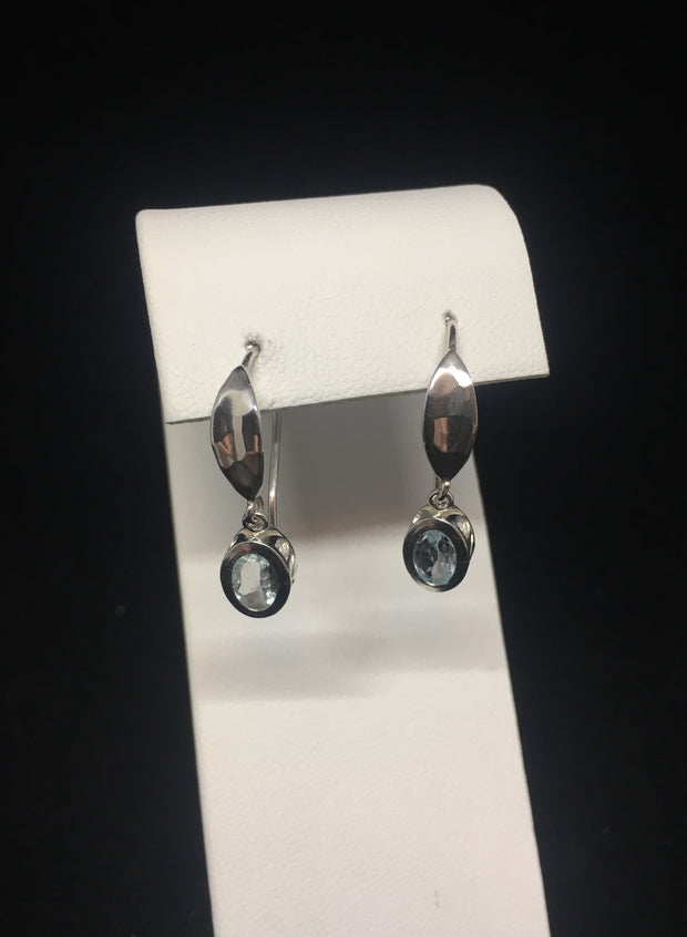 Sky Blue Topaz Shepherds Hook Earrings