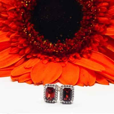 Garnet and White Topaz Earrings