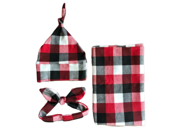 Buffalo Plaid Swaddle Set - Josie and James