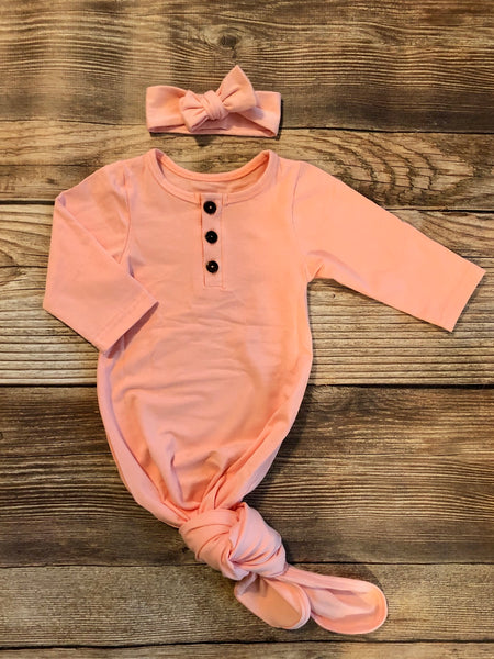 Peachy Pink Henley Gown - Josie and James