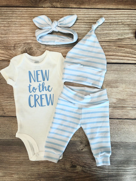 Blue Stripe Newborn Outfit, New to the Crew, Gender Neutral - Josie and James