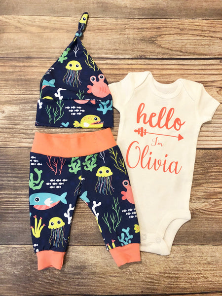 Coral Nautical Newborn outfit, Coming Home Outfit, Going Home Outfit - Josie and James