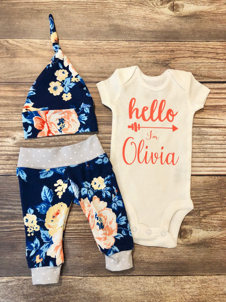 Navy Blue Floral Coming Home Outfit, Going Home Outfit, Newborn Outfit - Josie and James