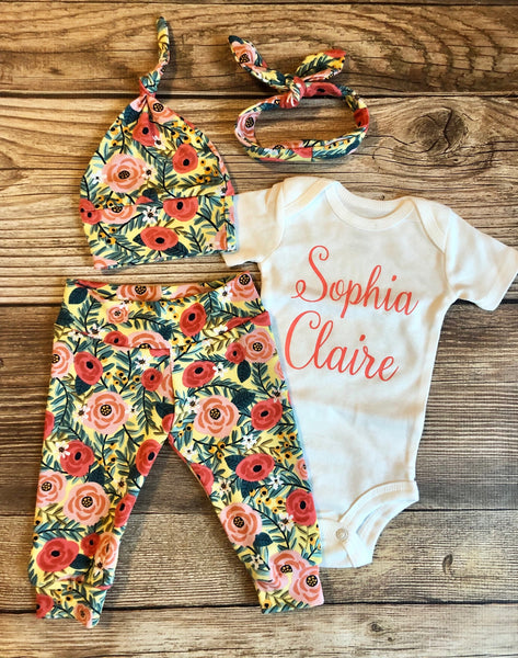 Parker Floral Newborn Outfit, Baby Girl outfit, Baby name outfit